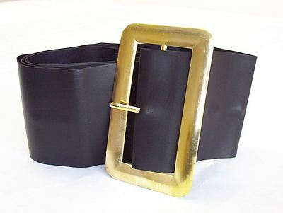 """Black Santa Father Christmas Pirate Belt With Large Buckle Fits Up To 50"""" Waist"""