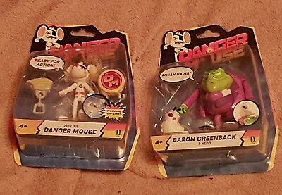 Danger Mouse Zip-Line & Baron Greenback & Nero - Figures - New in Packaging