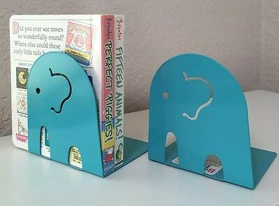 Nwt Nonskid Steel Bookends Blue Elephant Nursery Decoration, Set Of 2