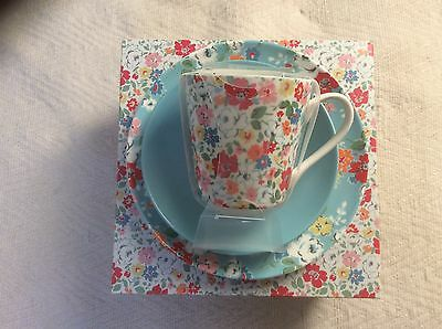Cath Kidston Trio Mews Ditsy Tea Set/tea Cup Saucer And Blue Ditsy Side Plate