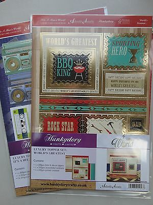 Hunkydory x2 Luxury folied die cut topper sets, Mens card craft
