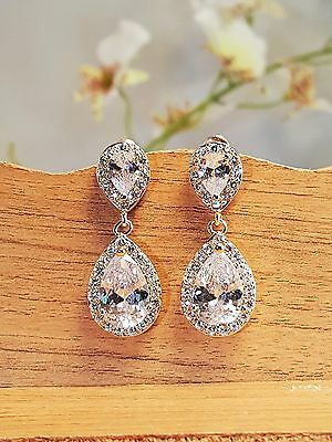 Brillant Bridesmaid Gold Plated CZ Tear Drop Pierced Earrings with Gift Card