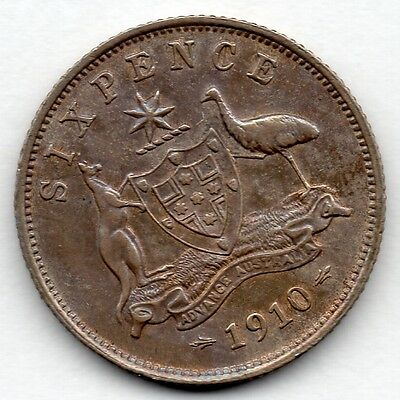 Australia 6 Pence 1910 (Sixpence) (92.5% Silver) Coin