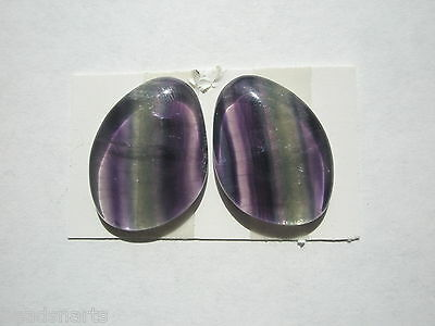 Natural AA Rainbow Fluorite lg 29 ct Freeform Cabochons - 22x16mm - pair