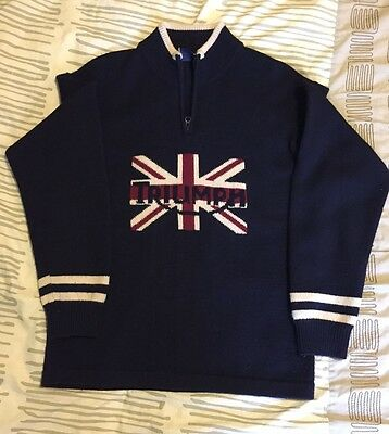 Triumph Motorcycle 1/4 Zip Heavy Wool Pullover Sweater EX! Union Jack