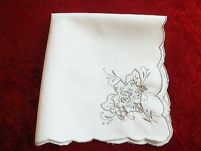"Vintage Madeira Unused 16"" Linen Napkins Richelieu Cutwork Ecru Embroidery"