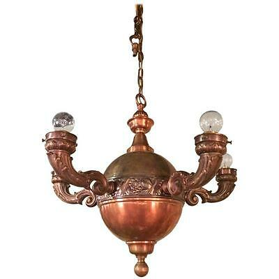 Arts & Crafts Brass and Copper Pendant Light Chandelier
