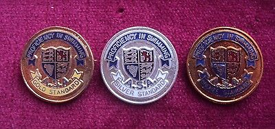 3X Vintage Swimming Badges - Gold, Silver And Bronze Awards