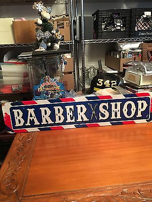 """Barber Shop red,white & blue retro looking metal sign 6x28"""" Made In the USA !!"""