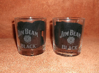 SET of  2   COLLECTIBLE      JIM BEAM BLACK  WHISKEY ROCKS GLASSES - FOOTBALL
