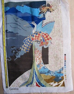 "Vintage Needlepoint Readicut GEISHA Tapestry Embroidery Canvas 16""x24""/40 x 61cm"