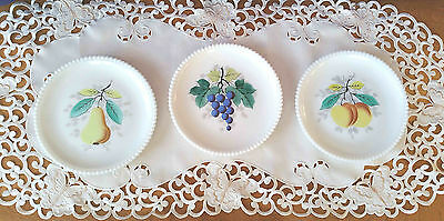 3 Beaded Edge Hand Painted Plates - Fruit Design