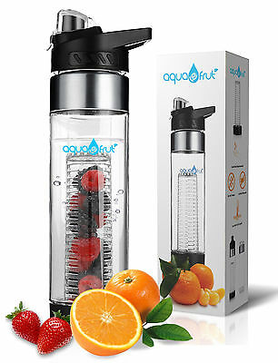 Aquafrut Bottom Loading Fruit Infuser Water Bottle (24oz, Black) USA Seller!