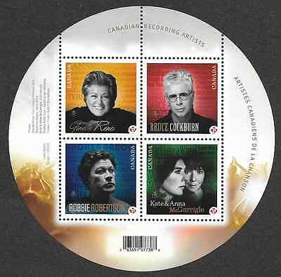 Canada Stamps - Souvenir sheet of 4 - Canadian Recording Artists #2482b - MNH
