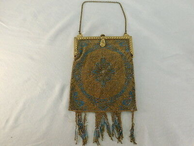 Vintage Micro Glass Steel Beaded Purse Art Deco Design Fringed Brass Frame