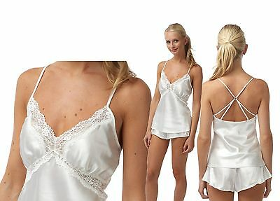 Ladies Ivory Satin Cami and Shorts SET Size 16 French Knickers