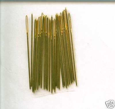 **10 x  LOOSE GOLD PLATED NEEDLES **Size 24 for cross stitch