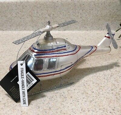 NEW Robert Stanley Christmas Glass Ornament Helicopter Military Rescue Blue