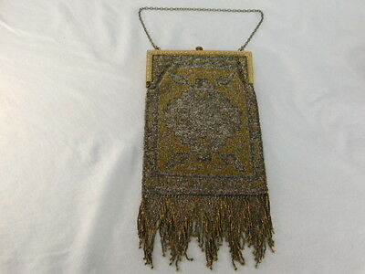 Vintage Micro Glass Steel Beaded Purse Art Deco Design Fringed Brass Frame Chain