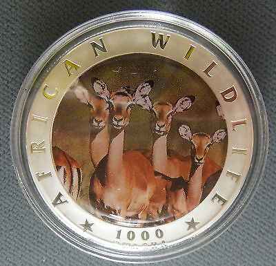 2000 Zambia Silver *GEM PROOF* 1000 Kwacha Bank Impalas African Wildlife 2334