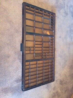 "Vintage Printers Type Tray Shadow Box Cast Iron Hamilton Bin Handle 32"" x 16.5"""