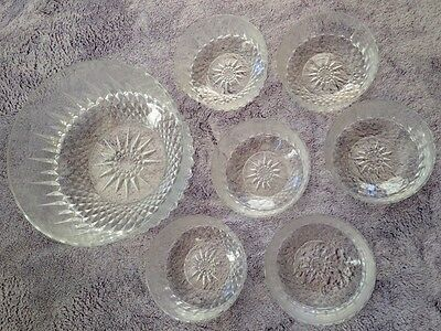Arcoroc USA Clear Diamond Pattern Salad Desert Bowl 7 Piece Set Cavalier Vintage