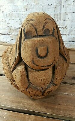 Vintage Handcarved Coconut Dog Figure Made in Philippines ~Coin Bank/Decor~