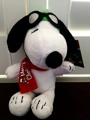 Peanuts Christmas Snoopy as a Pilot Stuffed Animal with Music NWT