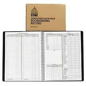 """Dome Monthly Bookkeeping Record, 8-3/4"""" x 11-1/4"""", White, Tan Cover"""