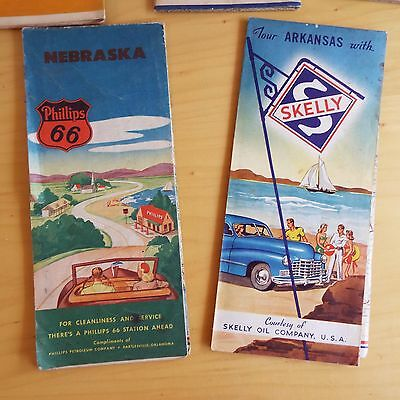 Vintage 1940's Maps - Shell, Phillips 66, Sovereign Service and Skelly Oil