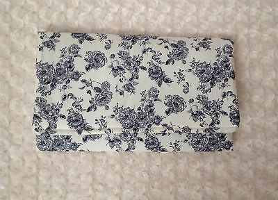 VINTAGE FLORAL baby travel changing mat cotton waterproof new GREY CREAM FLOWERS