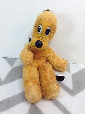 Vintage 1950s Gund Disney Pluto Plush Toy Rare Hard to Find W/ Snap Rubber Face