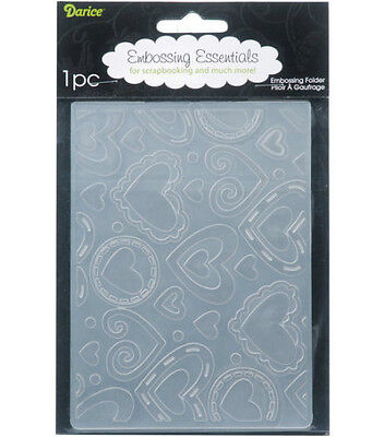 Darice ~ LAYERED HEART BACKGROUND ~ A-2 Universal Embossing Folder  1216-69