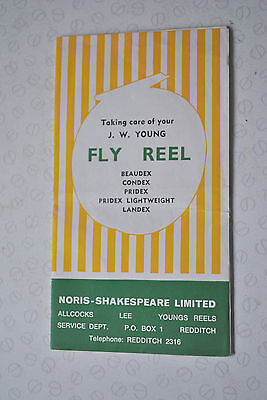 Vintage J W Young  Fishing Reel Advertising Fold Out Pamphlet/catalogue