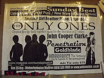 The Only Ones Wolverhampton Civic Hall Billboard Gig Poster 2009 Peter Perrett