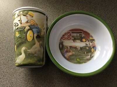 John Deere children's kids dishes set cup/bowl Little Farmer GREEN