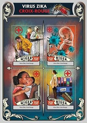 Z08 IMPERFORATED NIG16324a NIGER 2016 Zika virus Red Cross MNH