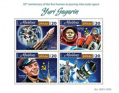 Z08 IMPERFORATED MLD16405a MALDIVES 2016 Yuri Gagarin MNH