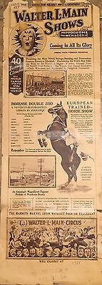 Walter L Main Circus Poster AUTHENTIC HERALD (1925)
