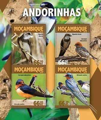 Z08 IMPERFORATED MOZ16128a MOZAMBIQUE 2016 Swallows MNH