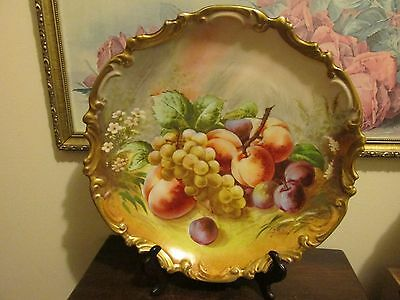 Unmarked Limoges France Hand Painted Charger Plate Fruit Grape Signed J. Golse