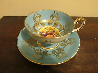 Aynsley England Tea Cup And Saucer Signed D Jones Orchard Fruit Turquoise Gold