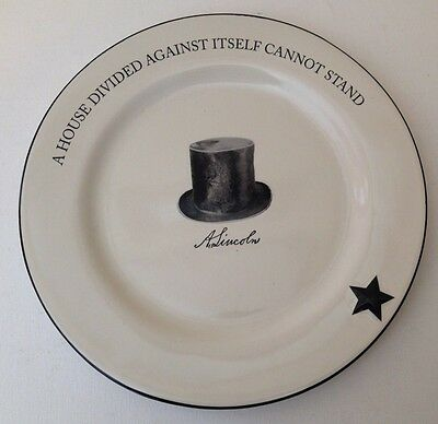 Abe Lincoln Quote Decorative Plate Dish- Kathy Phillips Pottery- NWT
