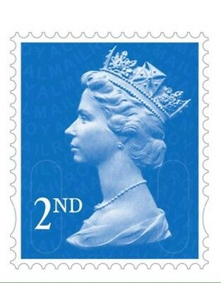 100 x 2nd Class Used & Unfranked Stamps,No Gum , Off Paper , FV £56