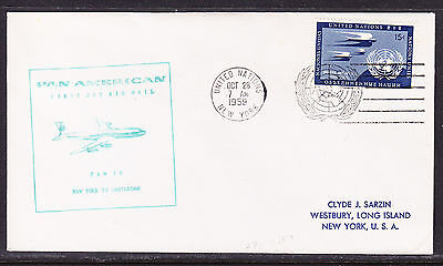 United Nations 1959 FAM18  New York to Amsterdam  Flight Cover addressed