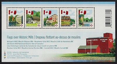 Canada Stamps - Souvenir sheet of 5 - Canadian Flag over Mills #2350 - MNH