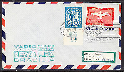United Nations 1960 VARIG Airlines New York to Barsilia Flight Cover addressed