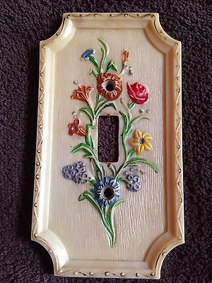 Vintage - American Tack & Hardware 1967 Plastic Switch Plate - Plastic Flowers