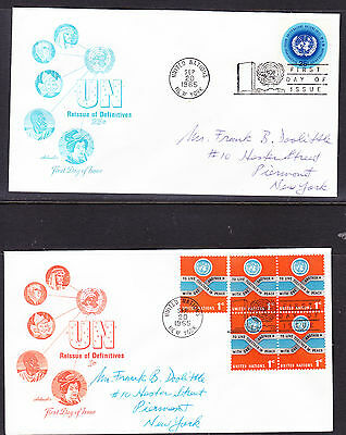 """United Nations """"Artmaster"""" 1965 - Reissue Definitives #1 TWO  FDC  addressed"""