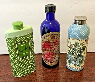 Lot of 3 Vintage Rose Water Bottle, Talcum Cannisters, Crabtree and Evelyn Avon